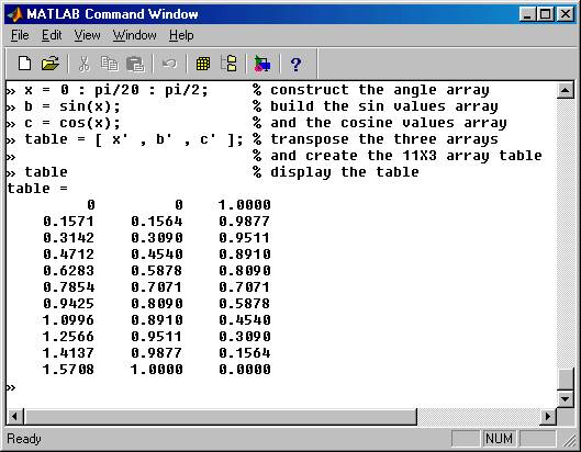 matlab entering constructing displaying arrays