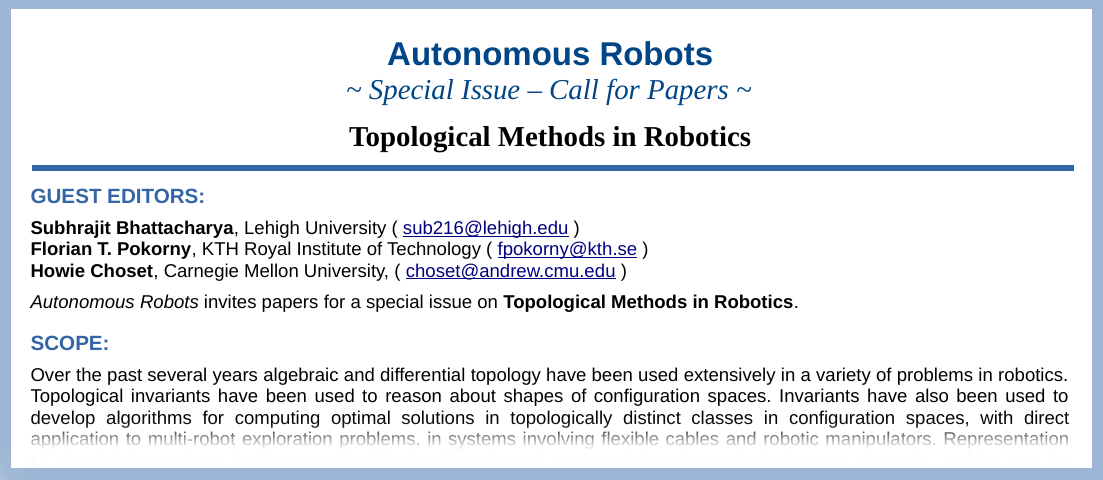 CfP: AURO special issue on Topological Methods in Robotics